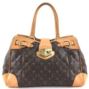 Gm Large Quilted Tote Brown Monogram CanvasSatchel